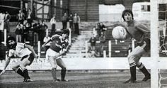 Joe McBride Everton watching his shot going wide of the Port Vale goal 1980-81
