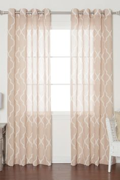 Sheer Moroccan Print Grommet Top Curtains - Taupe | HauteLook