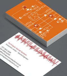 What if we did a mini infographic on the back of our cards? Sound Waves and Circuit Boards: why not step into the spotlight with these bright, arresting cards, which explain intricately what it is that makes your skillset so invaluable as a Sound Engineer. #moocards #luxebymoo #businesscard