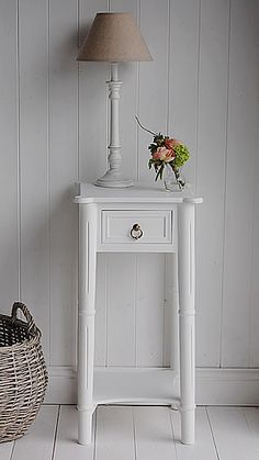 http://www.thewhitelighthousefurniture.co.uk/white-bedroom-furniture/white-bedside-table.htm  £80
