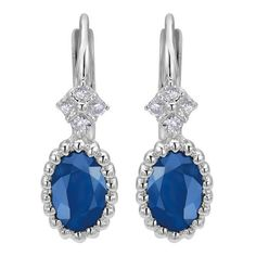 14k white gold sapphire and diamond oval drop earrings from Mullen Jewelers