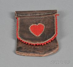 Handmade Leather and Red Felt Change Purse, Pennsylvania, late 19th century, 5 1/2 x 3 3/4 in.
