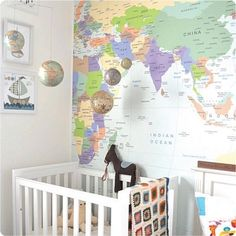 Large world map nursery wall decal baby nursery wall decal 7 maps love maps are great decore for kids room gumiabroncs Images