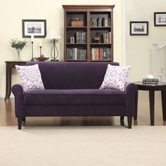 @Overstock.com - Portfolio Harper Purple Velvet Rounded Arm Sofa - The transitional Portfolio Harper sofa features rounded arms and is both comfortable and stylish. The sofa is covered in a luxurious soft deep purple velvet and inludes two 18 inch purple medallion accent pillows.  http://www.overstock.com/Home-Garden/Portfolio-Harper-Purple-Velvet-Rounded-Arm-Sofa/8441118/product.html?CID=214117 $472.99