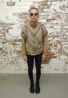 Vintage 80's light Brown Nylon Sports Jacket