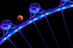 Borrowed from a FB page about 'The High Roller'....the tallest Ferris wheel in the US that's here in The Linq Hotel and Casino in Las Vegas. Last night's blood moon is also featured.