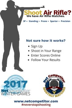 Looking for a fresh new competition, or maybe just want to spice up your practice? Register for an air rifle match on Net Competitor and join in the fun! Our Monthly Matches and Winter Games, a 5 week shooting league, are a great way to improve your skill, shoot with new people and win prizes! We offer sporter and precision matches in standing, prone and 3 position for only $3 & $5. Register today! http://www.netcompetitor.com/monthly_matches.html?utm_content=bufferecc39&utm_medium=social&u…