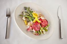 Grilled Asparagus With Cauliflower Cream Sauce and Beet Chips