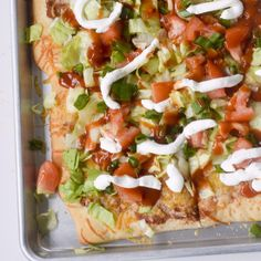 Mexican pizza, topped with whatever taco toppings you prefer!