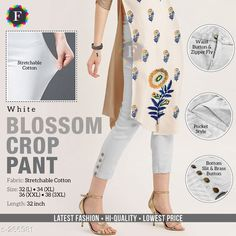 Trousers & Pants Stylish Cotton Crop Pant Fabric : Cotton   Size: L - 32 in , XL - 34 in, XXL - 36 in, 3XL - 38 in  Length : Up to 32 in  Type: Stitched  Description: It has 1 piece of Cotton Stretchable Crop Pant   Pattern: Solid Sizes Available: M, L, XL, XXL, XXXL   Catalog Rating: ★4.1 (1303)  Catalog Name: Blossom Crop Pants CatalogID_27805 C79-SC1034 Code: 824-266981-