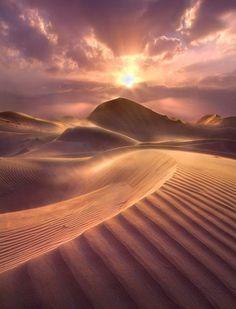 Sand dunes at sunset, Dubai.