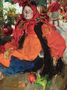 Abram Efimovich Arkhipov (1862-1930). Portrait of a Russian Peasant Girl. Oil on Canvas.