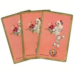 Vintage Constance Deplar 1950s White Trick Poodle Single Swap Playing Cards Lot of 3