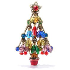 Enamel Christmas Tree Pin Crystal Christmas Pin Brooche and Pendant - Overstock™ Shopping - Big Discounts on Brooches & Pins