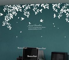 Beautiful branches with Flying Birds-Vinyl Wall Decal,Sticker,Nature Design.