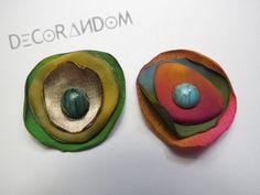 orecchini fiore di stoffa riciclata multicolor con perla di vetro recycled jewelry of12 di decorandom su Etsy