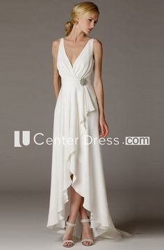 Cheap robe de mariage, Buy Quality chiffon bridal gown directly from China bridal gown Suppliers: Vestido De Noiva High Low Beach Wedding Dresses 2017 New Design Simple V-neck Chiffon Bridal Gowns Casamento Robe De Mariage Wedding Dresses For Older Women, Greek Wedding Dresses, Wedding Dresses 2018, Bridesmaid Dresses, Party Dresses, Occasion Dresses, Older Bride Dresses, Wedding Dress Older Bride, Dress Party