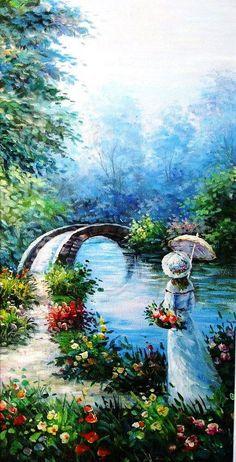 """Diane Trierweiler~ """"Girl With Parasol""""~ An Original Fine Art Painting. Landscape Art, Landscape Paintings, Monet Paintings, Bel Art, Art Original, Victorian Art, Classical Art, Renaissance Art, Pretty Art"""