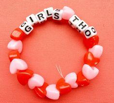 Stim With Me Conversation Heart Bracelet Rave Bracelets, Pony Bead Bracelets, Candy Bracelet, Friendship Bracelets With Beads, Pony Beads, Heart Bracelet, Paracord Bracelets, Kandi Patterns, Beading Patterns