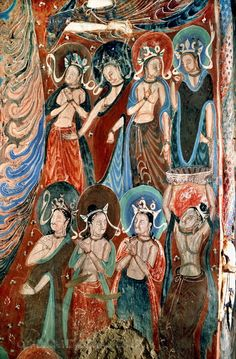 Mogao Grottoes (Thousand Buddha Caves) sits at the cliffs of the Soughing Sand Hill, 25 km Southeast of Dunhuang, is an important transfer stop for the Silk Road and a place where East greets west and different cultures clash before blend together.