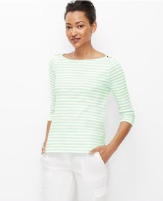 Primary Image of Striped Shoulder Button Tee