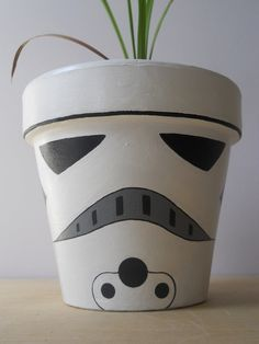 Painted Flower Pots | Stormtrooper Star Wars painted flower pot by GingerPots on Etsy