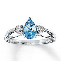 10K White Gold Diamond & Blue Topaz Ring