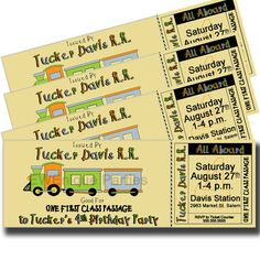 train ticket birthday party invitation