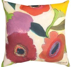 Poppies Garden Memories 2 Indoor or Outdoor Pillow www.aspenleafmarket.com