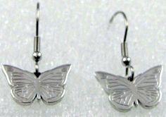 Butterfly Stainless Steel Earrings Silver Hypoallergenic Dainty Lightweight
