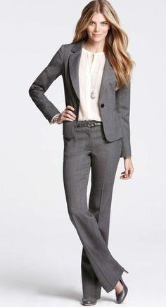 Grey ann taylor suit, business formal women.