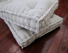ticking floor pillow tufted floor cushion with french mattress quilting stuffed floor pouf floor seating custom sizes available