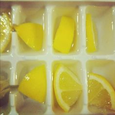 Lemon Ice cubes! Great idea to add to your water. via luckygirlfinds.com - great blog