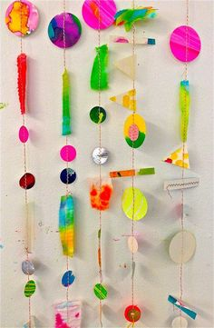 what happens when you have a studio filled with a collection of papers paintings textiles and bits of pieces of sculptures THESE amazing mobiles Classroom Art Projects, Art Classroom, Paper Crafts For Kids, Arts And Crafts, Diy With Kids, Classe D'art, Mobile Art, Collaborative Art, Preschool Art