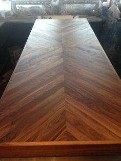 Chevron Pattern Bar Top - a Custom Design Hardwood Floors, Flooring, Custom Design, Dining Room, Woodworking, Chevron, Projects, Crafts, Bar