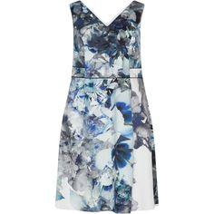 Studio 8 Multicolour Plus Size Floral print dress (820 CNY) ❤ liked on Polyvore featuring dresses, multicolour, plus size, floral hi-low dresses, floral cocktail dresses, blue evening dresses, blue dress and deep v-neck dress