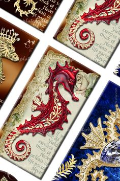 Digital Collage Sheet Sea Horse 1x2 inch plus by Templates4Sellers, $2.50