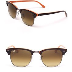 Ray-Ban Colorblock Clubmaster Sunglasses ($150) ❤ liked on Polyvore