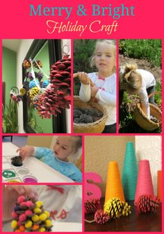 Pinecone craft for kids.  #crafts, #kids #holiday
