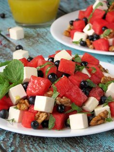 Blueberry Watermelon Feta Salad | YummyAddiction.com