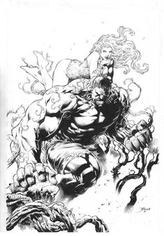 The Hulk and Poison Ivy by Diego Bernard
