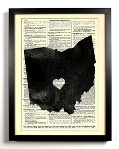 Ohio State Map, Home, Kitchen, Nursery, Bath, Office Decor, Wedding Gift, Eco Friendly Book Art, Vintage Dictionary Print 8 x 10 in.