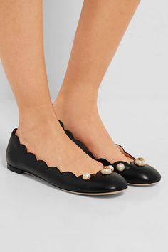Gucci | Embellished leather ballet flats | NET-A-PORTER.COM