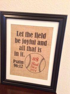 Burlap print sport gift Psalm 96:12 Baseball, softball, Football, Soccer personalized present - Great for Coach, Player, Team Mom, Etc.