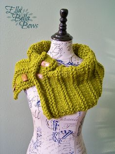 Make this cute button cowl with Wool-Ease Thick & Quick!