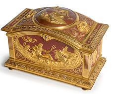 A French Neoclassical style gilt bronze and enamel jewelry box, fourth quarter 19th century