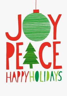 Margaret Berg Art: Joy+Peace+Happy+Holidays+Red+Green
