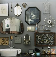 Eclectic collage bathroom wall -love