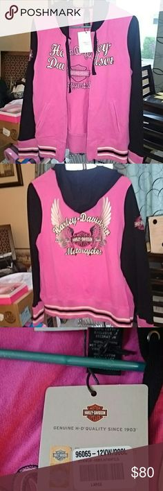 Harley Davidson hooded riding zip up NWT Hot pink and black. Smoke free home. Brand new never worn. Great zip up for riding or for fall! Harley-Davidson Tops Sweatshirts & Hoodies