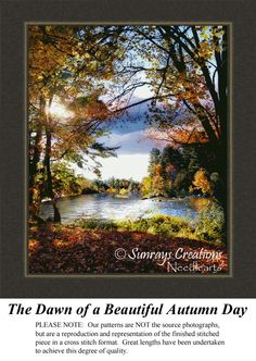 The Dawn of a Beautiful Autumn Day, Alluring Landscape Counted Cross Stitch Pattern, Landscapes, Landscape and Nature Counted Cross Stitch Pattern #crossstitchonpinterest #landscapecrossstitch